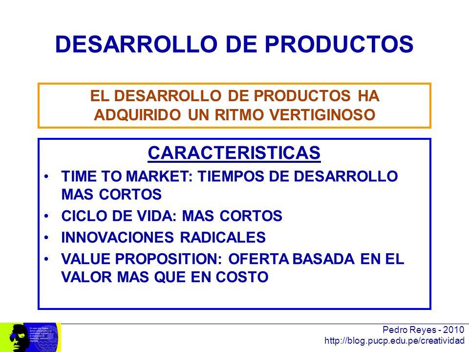 Pedro Reyes - 2010 http://blog.pucp.edu.pe/creatividad DESARROLLO DE PRODUCTOS CARACTERISTICAS TIME TO MARKET: TIEMPOS DE DESARROLLO MAS CORTOS CICLO