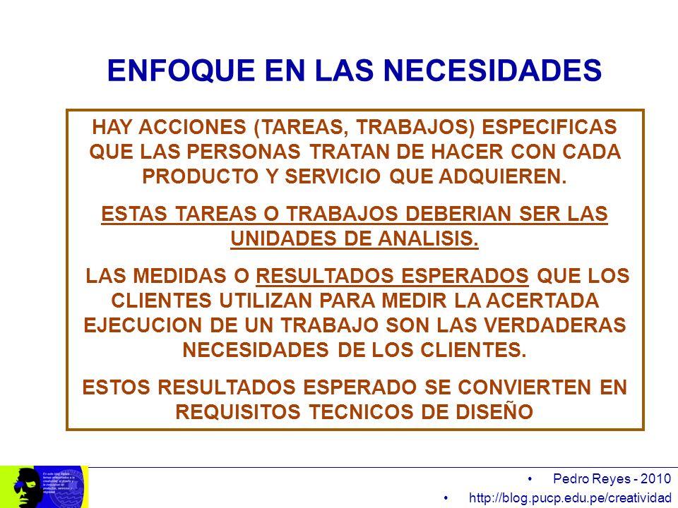 Pedro Reyes - 2010 http://blog.pucp.edu.pe/creatividad HAY ACCIONES (TAREAS, TRABAJOS) ESPECIFICAS QUE LAS PERSONAS TRATAN DE HACER CON CADA PRODUCTO