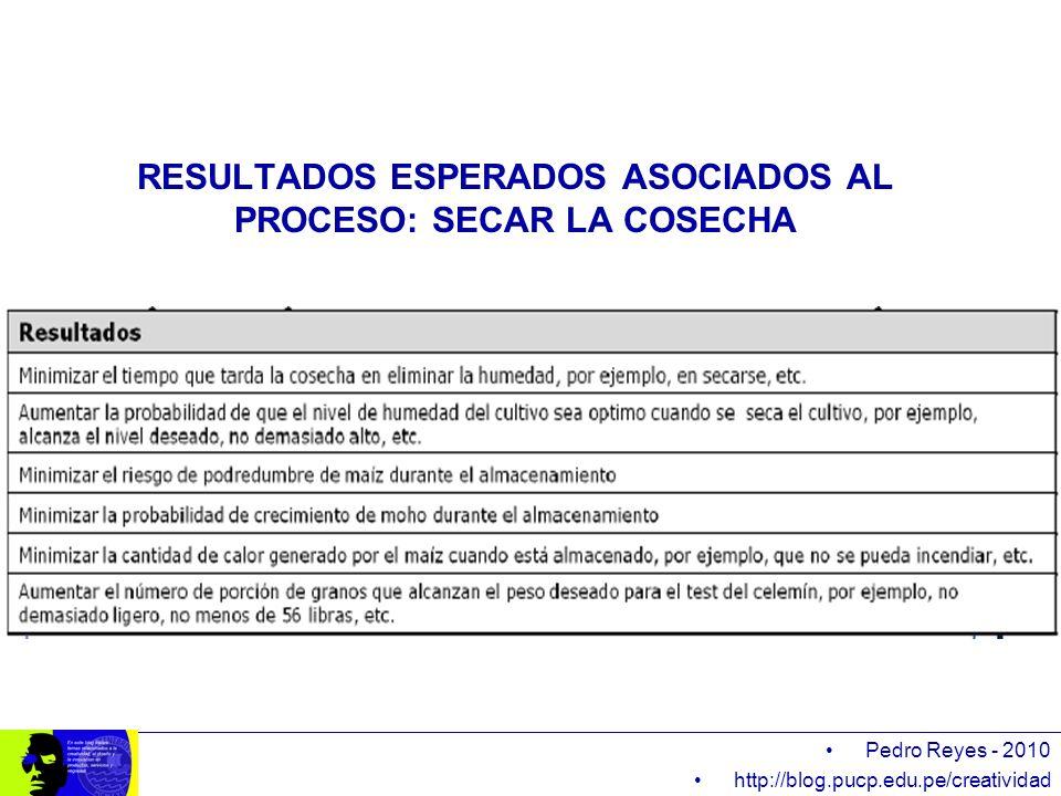 Pedro Reyes - 2010 http://blog.pucp.edu.pe/creatividad RESULTADOS ESPERADOS ASOCIADOS AL PROCESO: SECAR LA COSECHA