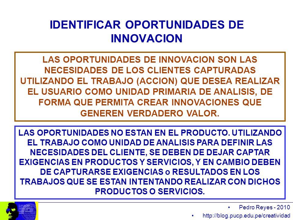 Pedro Reyes - 2010 http://blog.pucp.edu.pe/creatividad IDENTIFICAR OPORTUNIDADES DE INNOVACION LAS OPORTUNIDADES DE INNOVACION SON LAS NECESIDADES DE