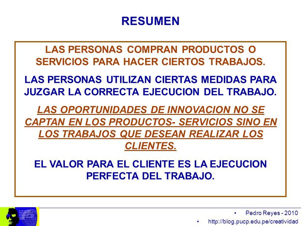 Pedro Reyes - 2010 http://blog.pucp.edu.pe/creatividad RESUMEN LAS PERSONAS COMPRAN PRODUCTOS O SERVICIOS PARA HACER CIERTOS TRABAJOS. LAS PERSONAS UT