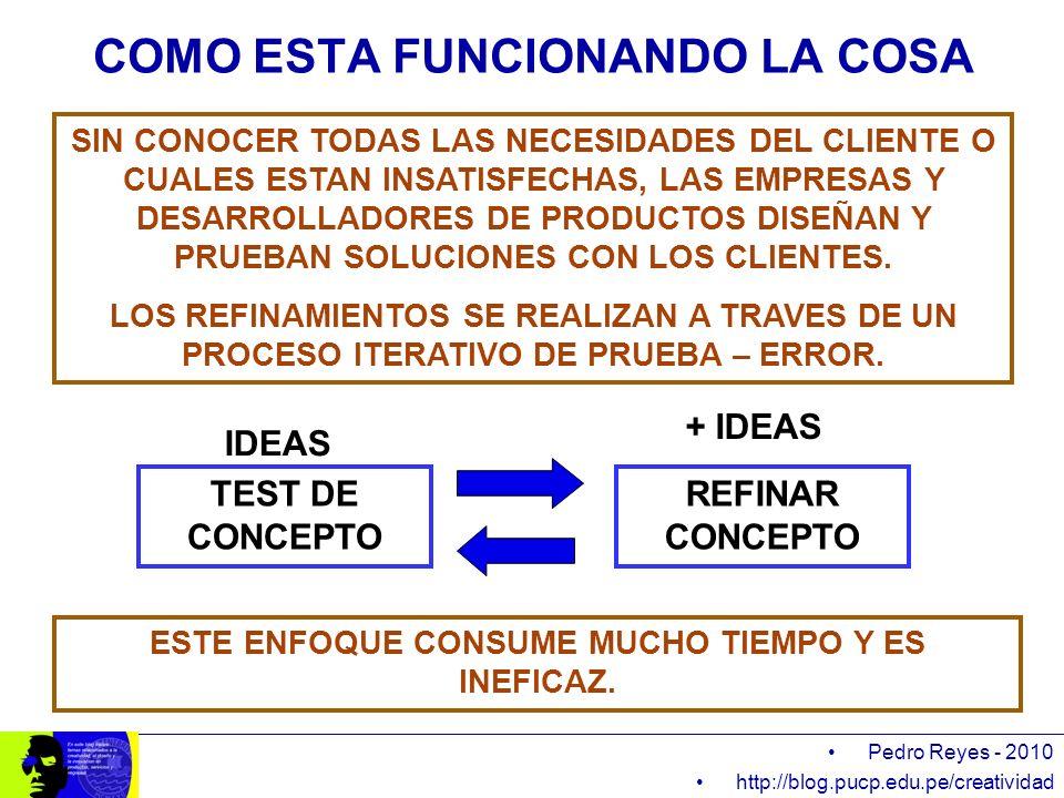 Pedro Reyes - 2010 http://blog.pucp.edu.pe/creatividad COMO ESTA FUNCIONANDO LA COSA SIN CONOCER TODAS LAS NECESIDADES DEL CLIENTE O CUALES ESTAN INSA