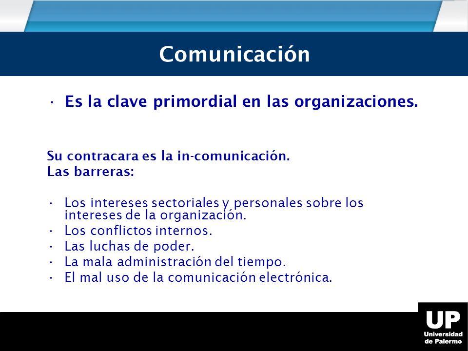Es la clave primordial en las organizaciones.Su contracara es la in-comunicación.