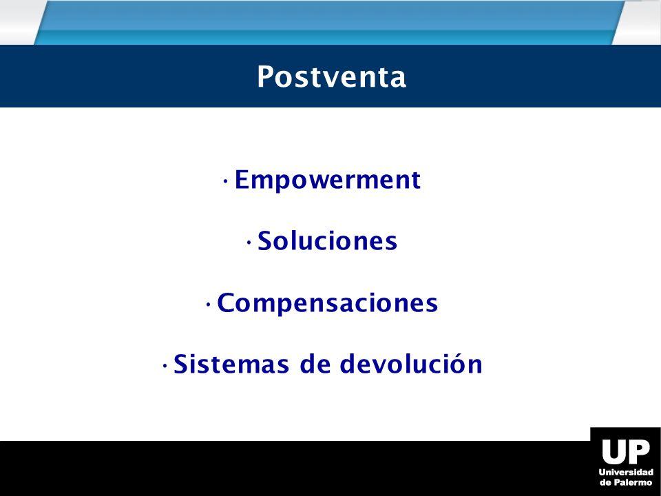 Postventa Empowerment Soluciones Compensaciones Sistemas de devolución