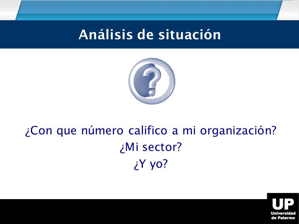Análisis de Situación ¿Con que número califico a mi organización.