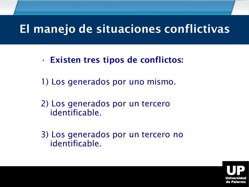 Existen tres tipos de conflictos: 1) Los generados por uno mismo.