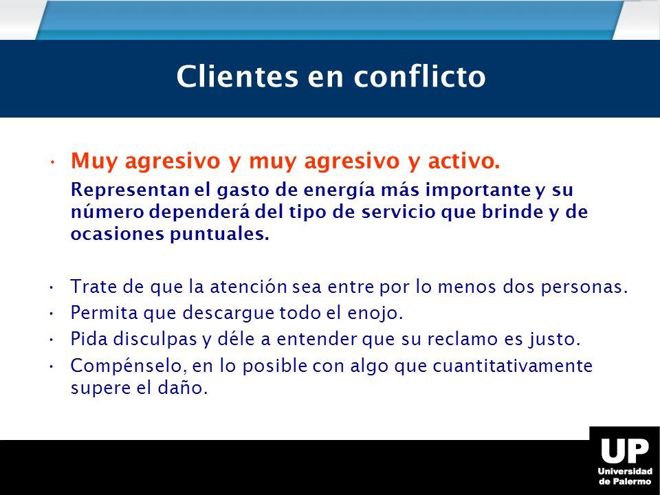 Los tipos de cliente en conflicto Muy agresivo y muy agresivo y activo.