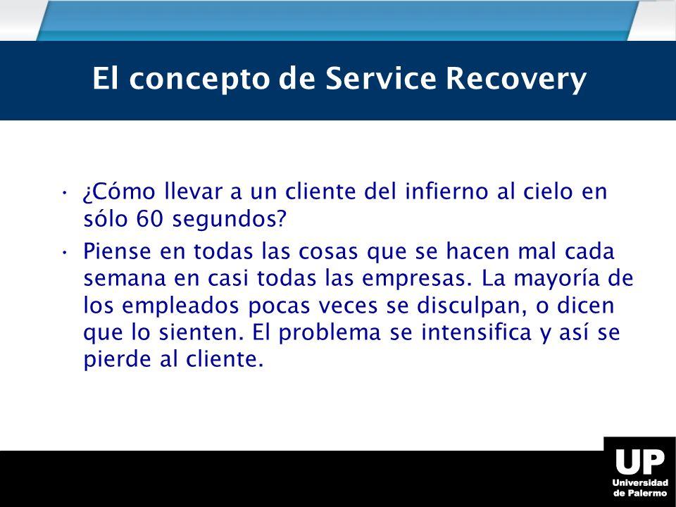 Service Recovery ¿Cómo llevar a un cliente del infierno al cielo en sólo 60 segundos.