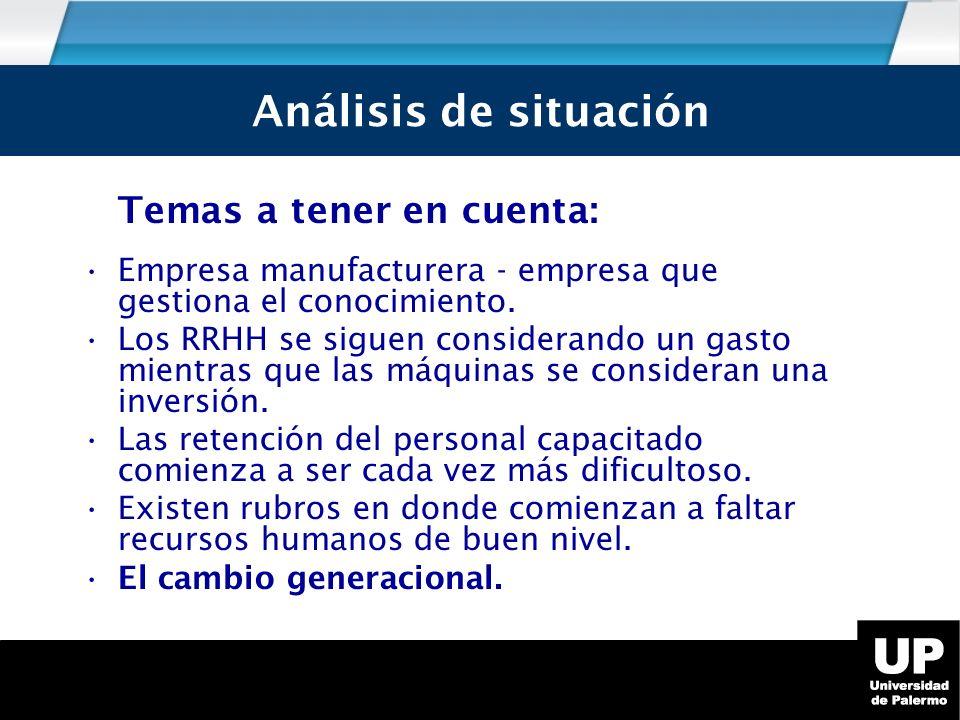 Análisis de Situación Temas a tener en cuenta: Empresa manufacturera - empresa que gestiona el conocimiento.