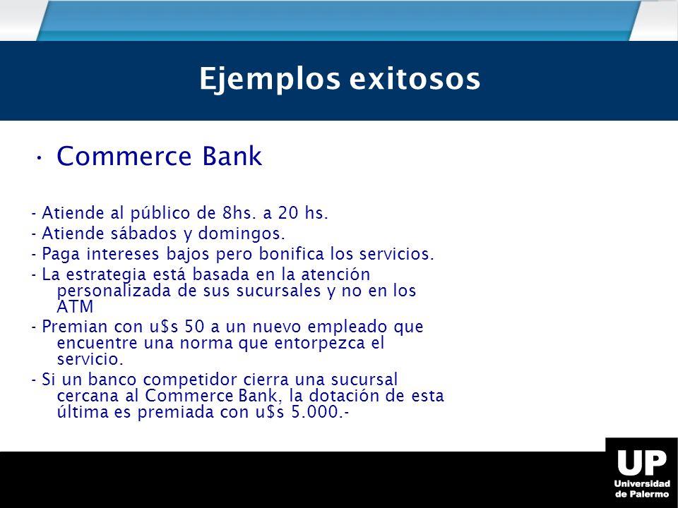 Ejemplos exitosos Commerce Bank - Atiende al público de 8hs.