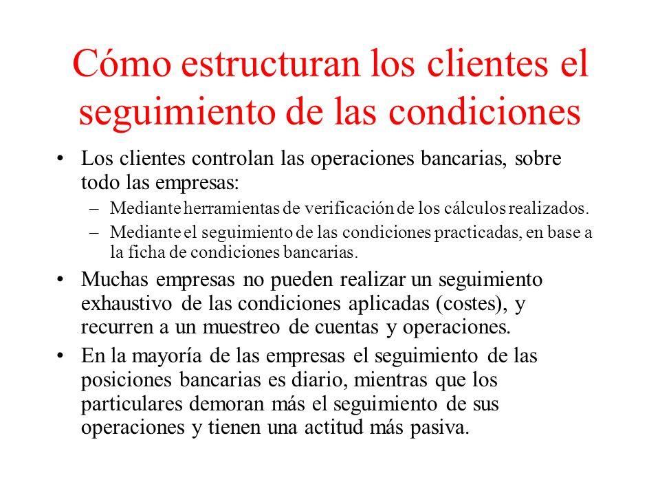Cómo estructuran los clientes el seguimiento de las condiciones Los clientes controlan las operaciones bancarias, sobre todo las empresas: –Mediante herramientas de verificación de los cálculos realizados.