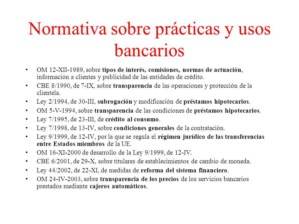 Normativa sobre prácticas y usos bancarios OM 12-XII-1989, sobre tipos de interés, comisiones, normas de actuación, información a clientes y publicidad de las entidades de crédito.