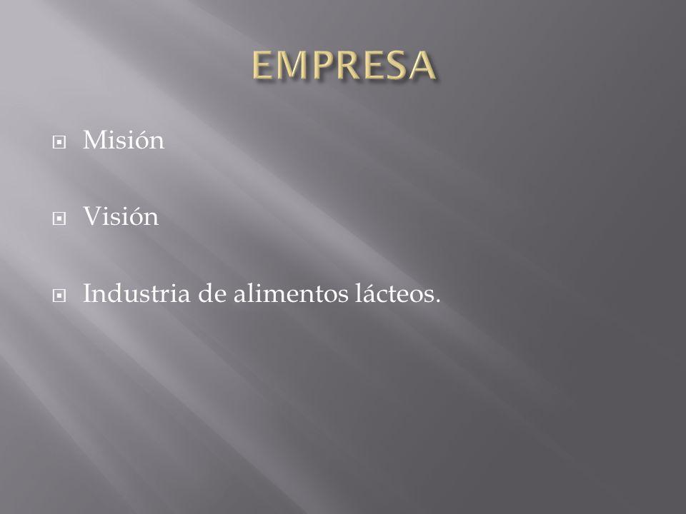 Misión Visión Industria de alimentos lácteos.