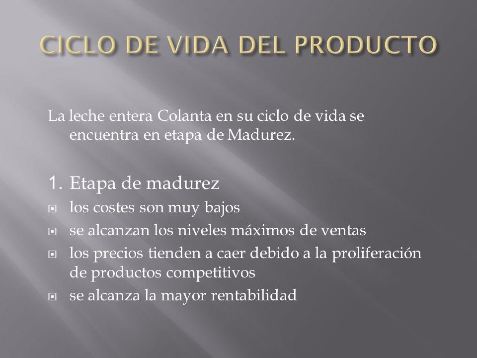 La leche entera Colanta en su ciclo de vida se encuentra en etapa de Madurez.