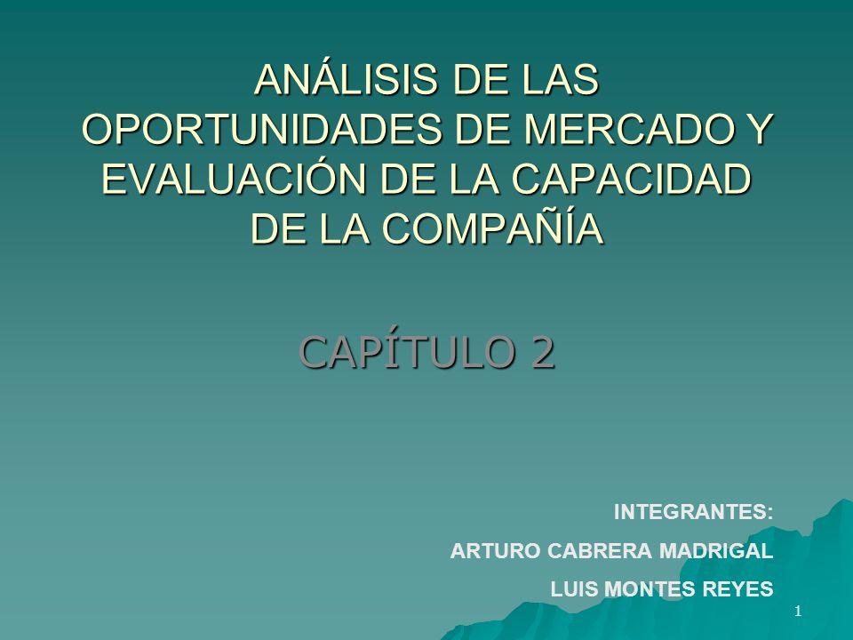 ANÁLISIS DE LAS OPORTUNIDADES DE MERCADO Y EVALUACIÓN DE LA CAPACIDAD DE LA COMPAÑÍA CAPÍTULO 2 1 INTEGRANTES: ARTURO CABRERA MADRIGAL LUIS MONTES REY