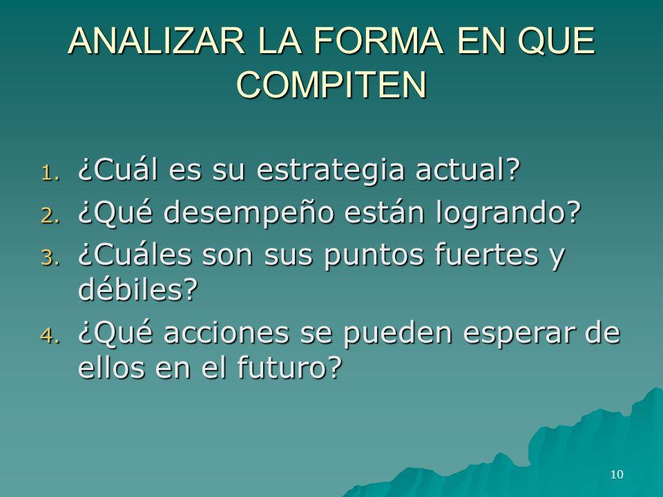 ANALIZAR LA FORMA EN QUE COMPITEN 1. ¿Cuál es su estrategia actual? 2. ¿Qué desempeño están logrando? 3. ¿Cuáles son sus puntos fuertes y débiles? 4.