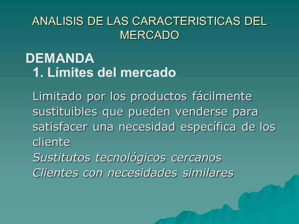 ANALISIS DE LAS CARACTERISTICAS DEL MERCADO Limitado por los productos fácilmente sustituibles que pueden venderse para satisfacer una necesidad espec