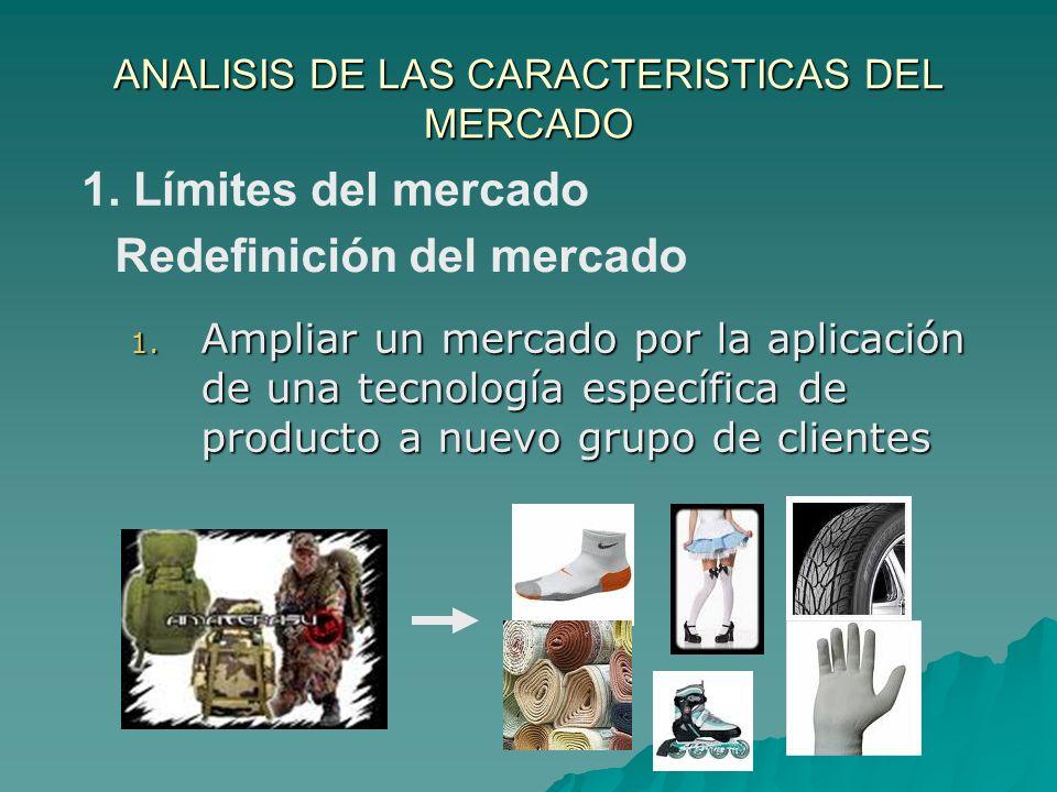 ANALISIS DE LAS CARACTERISTICAS DEL MERCADO 1. Ampliar un mercado por la aplicación de una tecnología específica de producto a nuevo grupo de clientes