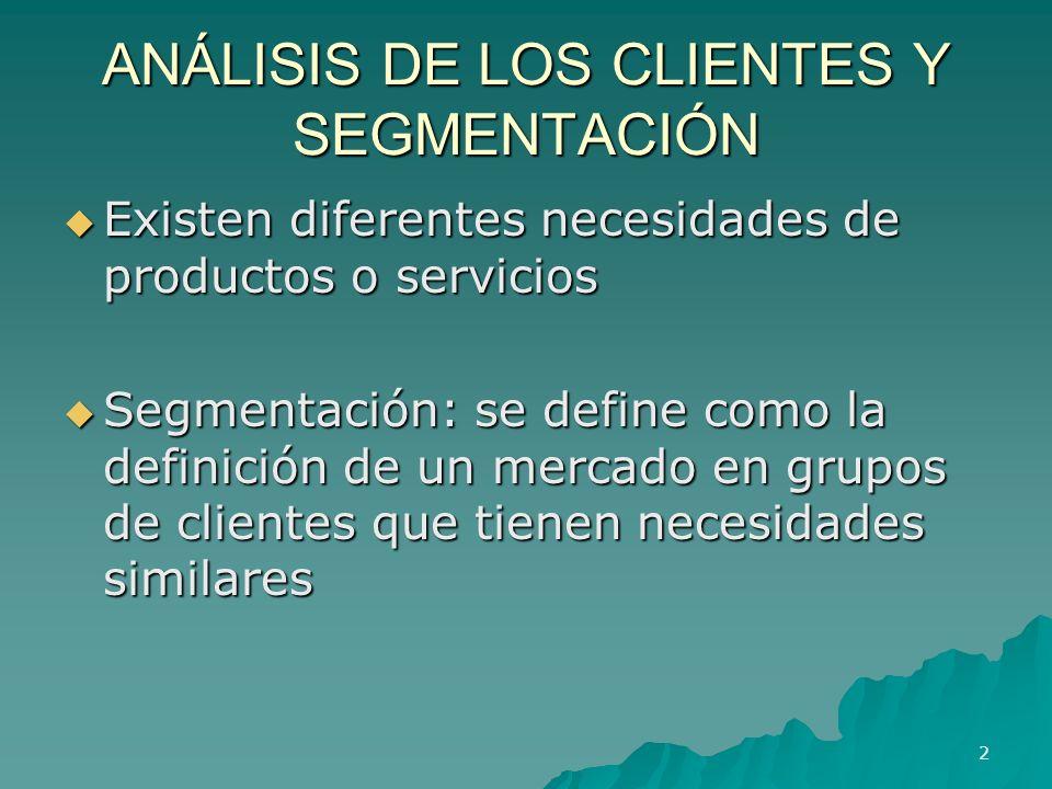 ANÁLISIS DE LOS CLIENTES Y SEGMENTACIÓN Existen diferentes necesidades de productos o servicios Existen diferentes necesidades de productos o servicio