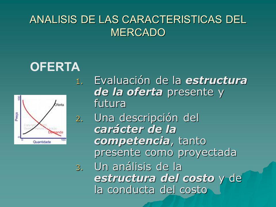 ANALISIS DE LAS CARACTERISTICAS DEL MERCADO 1. Evaluación de la estructura de la oferta presente y futura 2. Una descripción del carácter de la compet