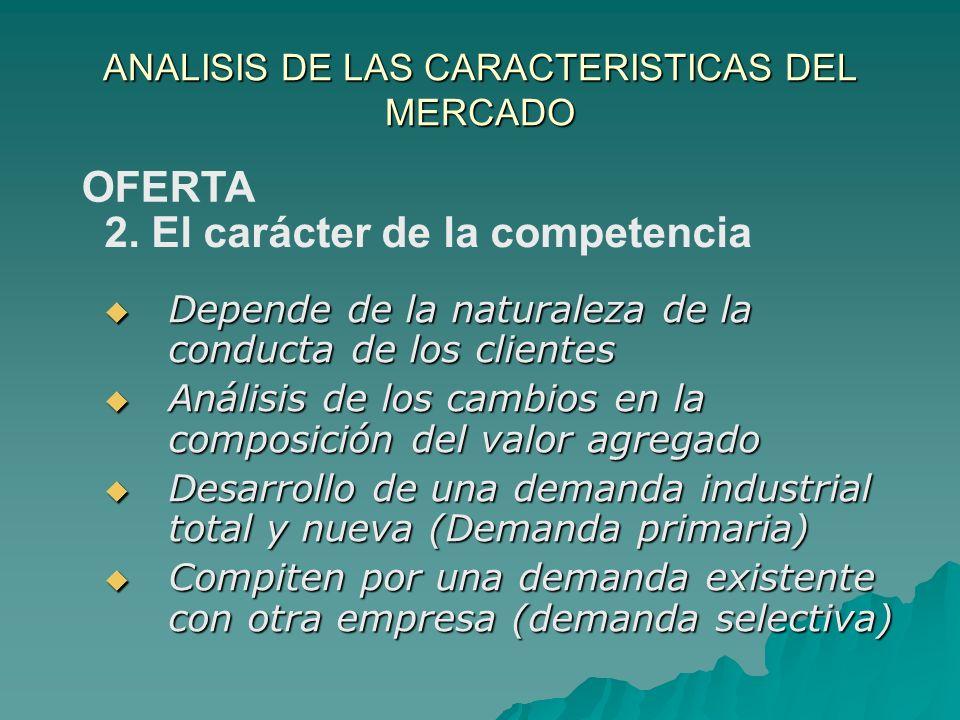 ANALISIS DE LAS CARACTERISTICAS DEL MERCADO Depende de la naturaleza de la conducta de los clientes Depende de la naturaleza de la conducta de los cli