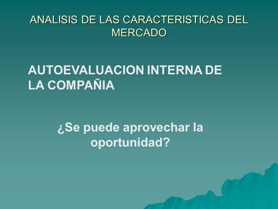 ANALISIS DE LAS CARACTERISTICAS DEL MERCADO AUTOEVALUACION INTERNA DE LA COMPAÑIA ¿Se puede aprovechar la oportunidad?