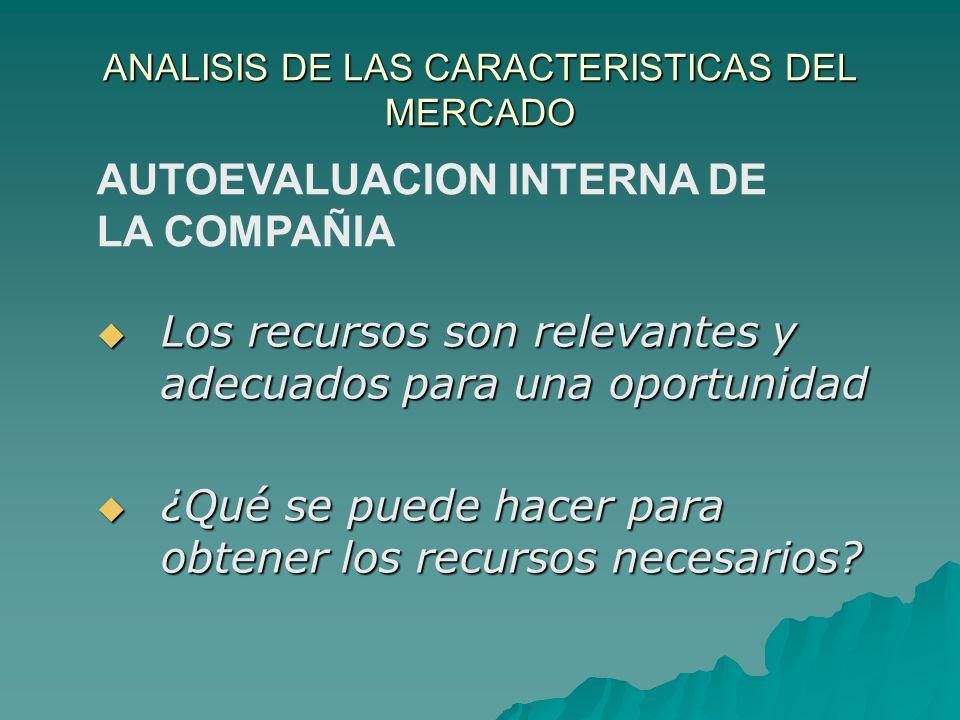 ANALISIS DE LAS CARACTERISTICAS DEL MERCADO AUTOEVALUACION INTERNA DE LA COMPAÑIA Los recursos son relevantes y adecuados para una oportunidad Los rec