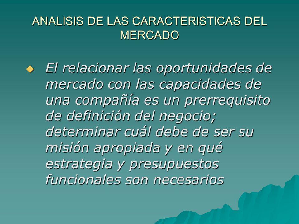 ANALISIS DE LAS CARACTERISTICAS DEL MERCADO El relacionar las oportunidades de mercado con las capacidades de una compañía es un prerrequisito de defi