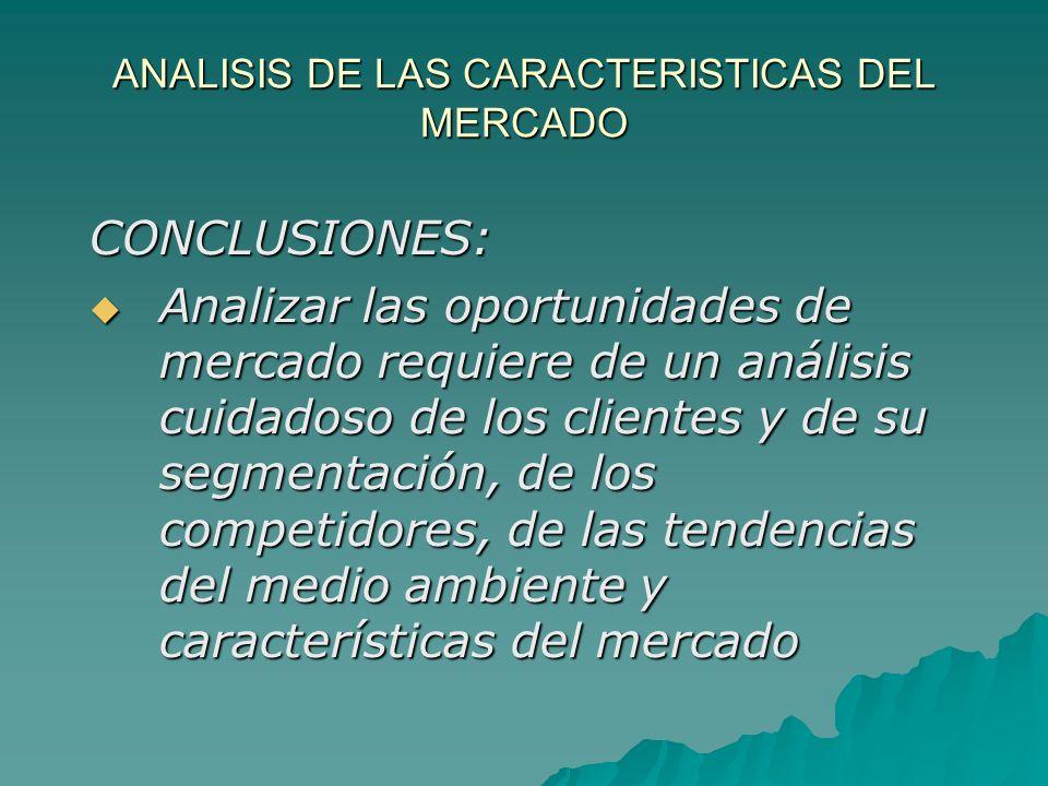 ANALISIS DE LAS CARACTERISTICAS DEL MERCADO CONCLUSIONES: Analizar las oportunidades de mercado requiere de un análisis cuidadoso de los clientes y de