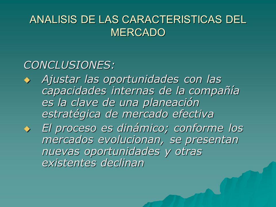 ANALISIS DE LAS CARACTERISTICAS DEL MERCADO CONCLUSIONES: Ajustar las oportunidades con las capacidades internas de la compañía es la clave de una pla