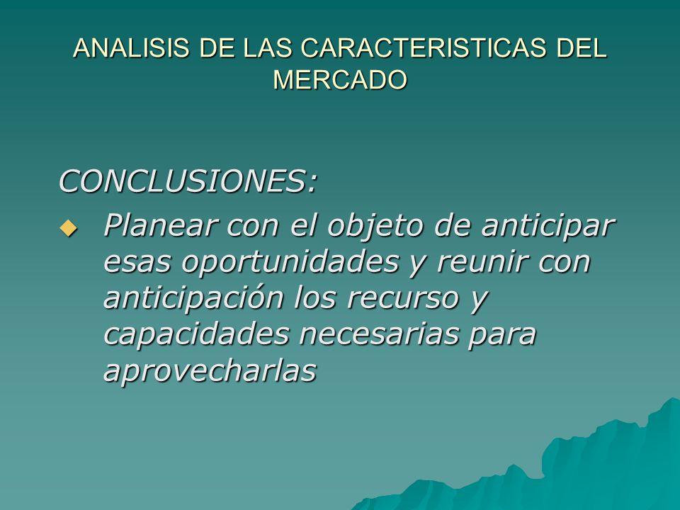 ANALISIS DE LAS CARACTERISTICAS DEL MERCADO CONCLUSIONES: Planear con el objeto de anticipar esas oportunidades y reunir con anticipación los recurso
