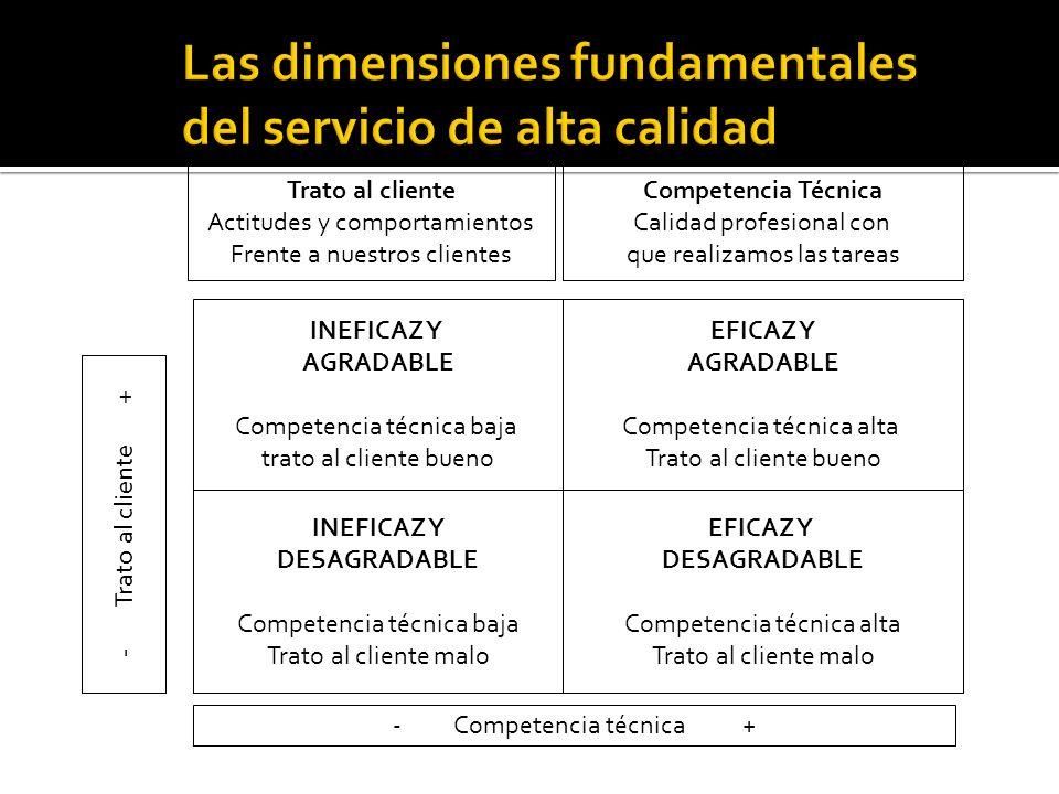 Competencia Técnica Calidad profesional con que realizamos las tareas Trato al cliente Actitudes y comportamientos Frente a nuestros clientes INEFICAZ