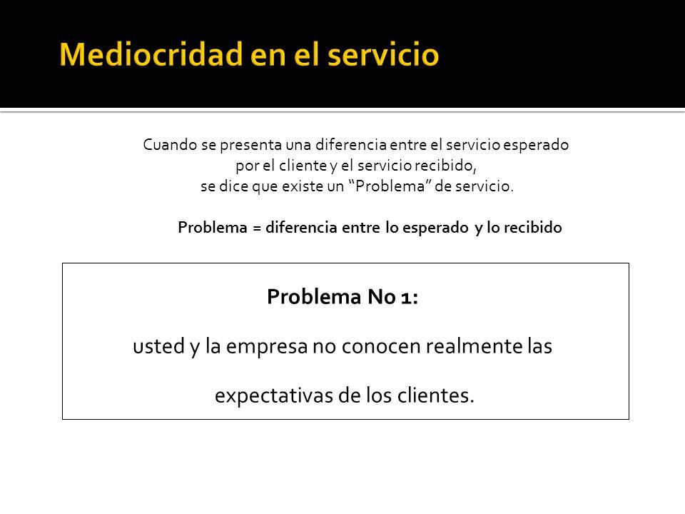 Cuando se presenta una diferencia entre el servicio esperado por el cliente y el servicio recibido, se dice que existe un Problema de servicio. Proble