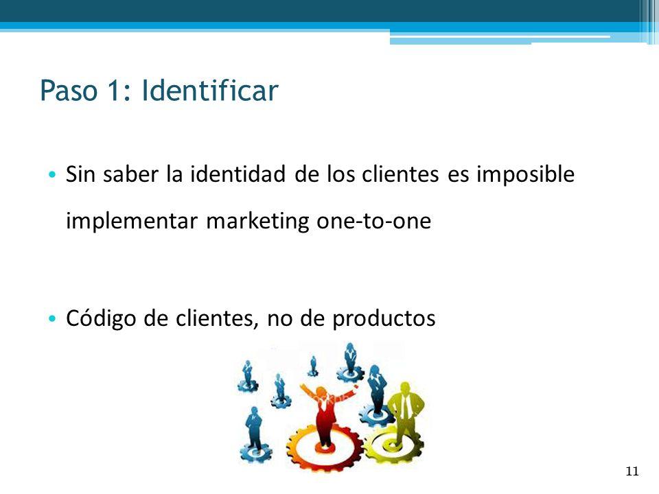 Paso 1: Identificar Sin saber la identidad de los clientes es imposible implementar marketing one-to-one Código de clientes, no de productos 11