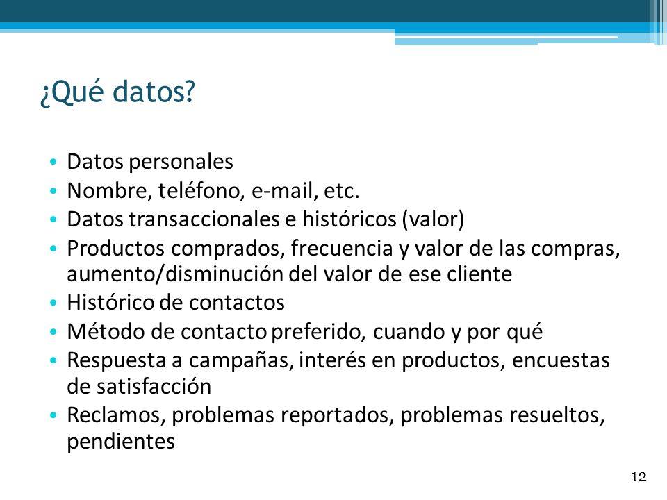 ¿Qué datos? Datos personales Nombre, teléfono, e-mail, etc. Datos transaccionales e históricos (valor) Productos comprados, frecuencia y valor de las