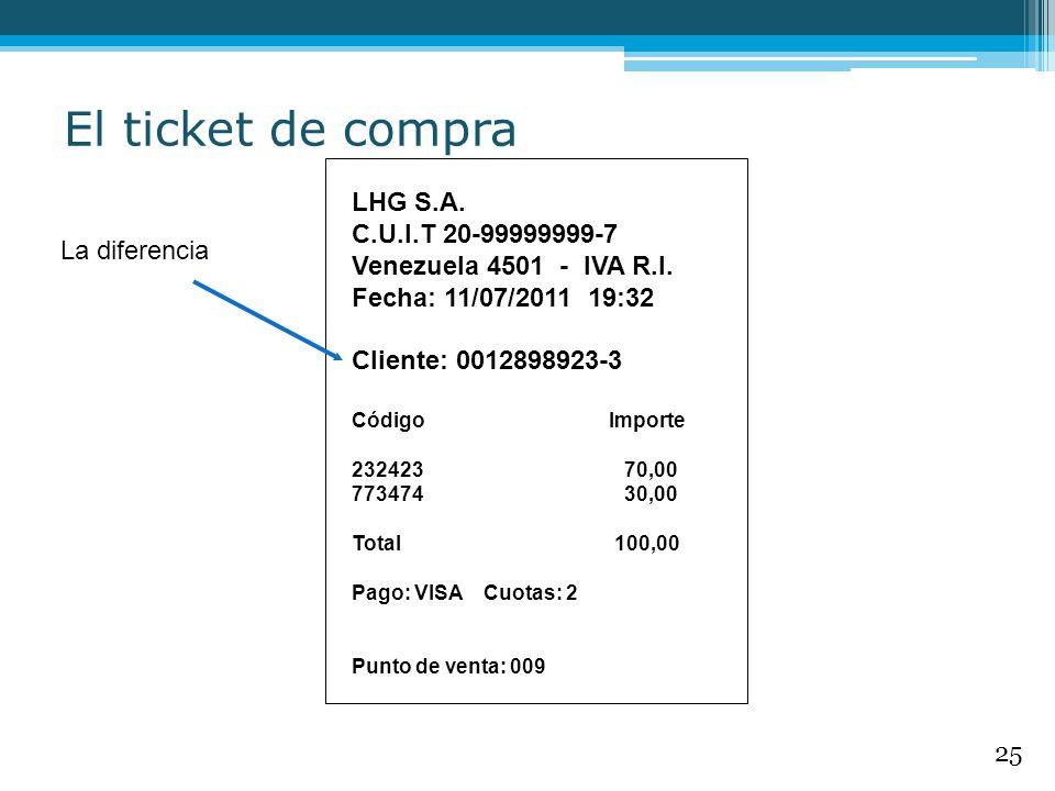 LHG S.A. C.U.I.T 20-99999999-7 Venezuela 4501 - IVA R.I. Fecha: 11/07/2011 19:32 Cliente: 0012898923-3 Código Importe 232423 70,00 773474 30,00 Total