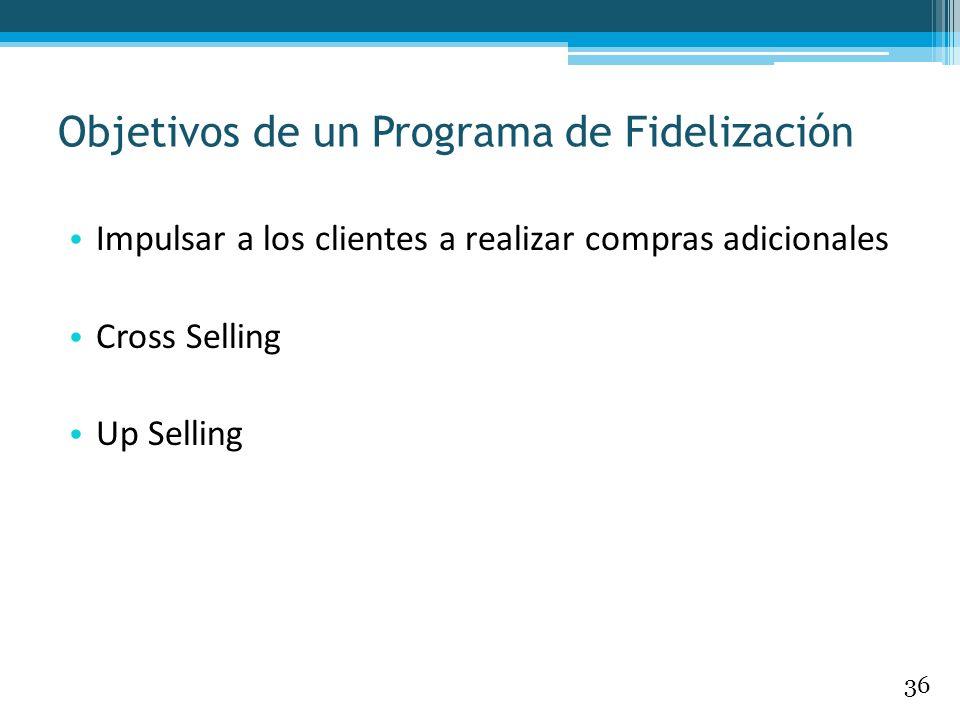 Impulsar a los clientes a realizar compras adicionales Cross Selling Up Selling Objetivos de un Programa de Fidelización 36