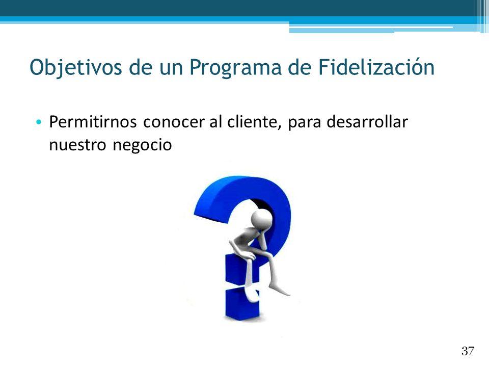 Permitirnos conocer al cliente, para desarrollar nuestro negocio Objetivos de un Programa de Fidelización 37