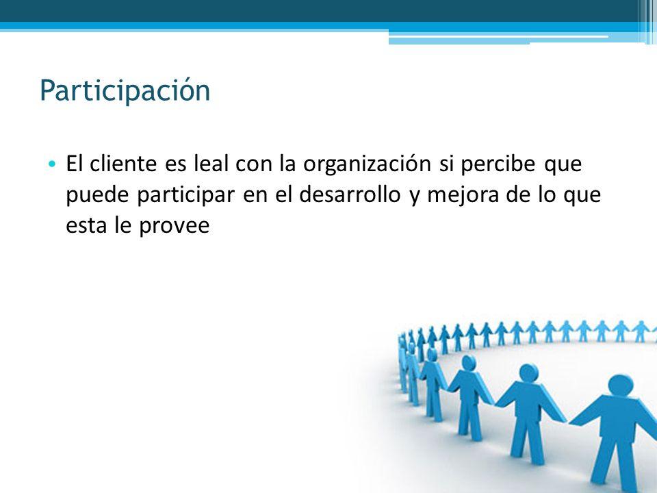 El cliente es leal con la organización si percibe que puede participar en el desarrollo y mejora de lo que esta le provee Participación