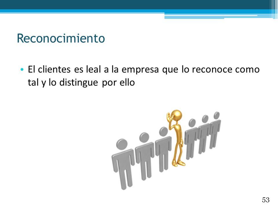El clientes es leal a la empresa que lo reconoce como tal y lo distingue por ello Reconocimiento 53