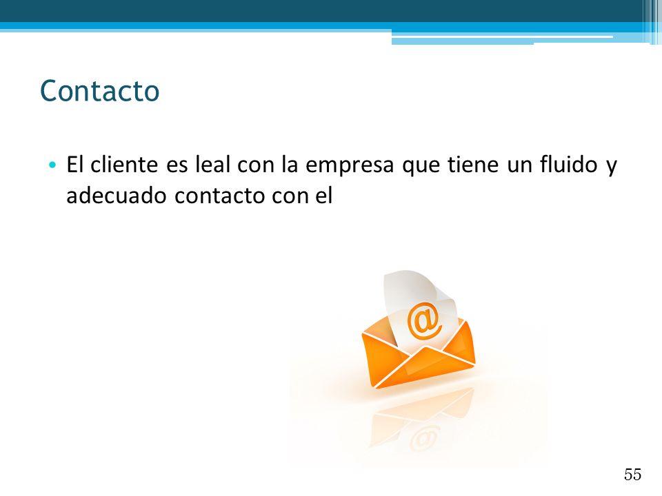 El cliente es leal con la empresa que tiene un fluido y adecuado contacto con el Contacto 55