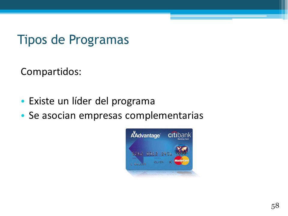 Compartidos: Existe un líder del programa Se asocian empresas complementarias Tipos de Programas 58