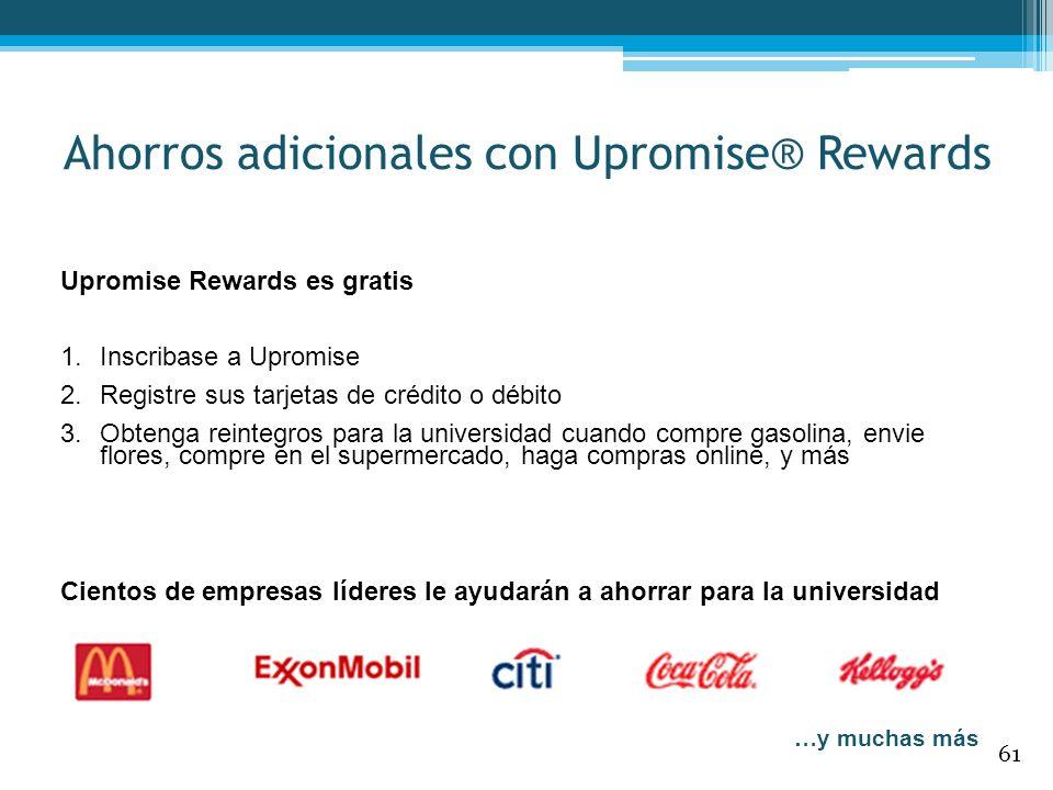 Upromise Rewards es gratis 1.Inscribase a Upromise 2.Registre sus tarjetas de crédito o débito 3.Obtenga reintegros para la universidad cuando compre