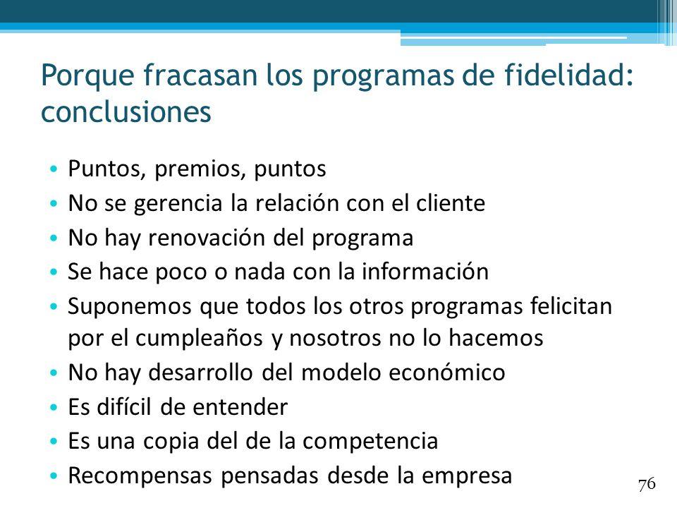 Porque fracasan los programas de fidelidad: conclusiones Puntos, premios, puntos No se gerencia la relación con el cliente No hay renovación del progr