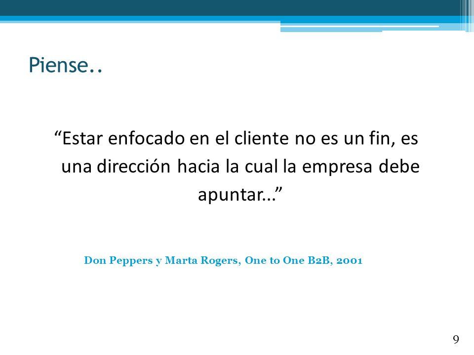 Estar enfocado en el cliente no es un fin, es una dirección hacia la cual la empresa debe apuntar... Don Peppers y Marta Rogers, One to One B2B, 2001