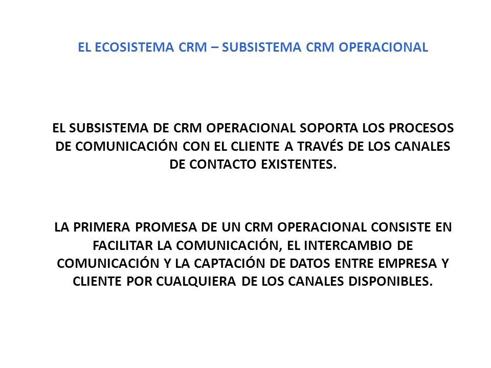EL SUBSISTEMA DE CRM OPERACIONAL SOPORTA LOS PROCESOS DE COMUNICACIÓN CON EL CLIENTE A TRAVÉS DE LOS CANALES DE CONTACTO EXISTENTES. EL ECOSISTEMA CRM