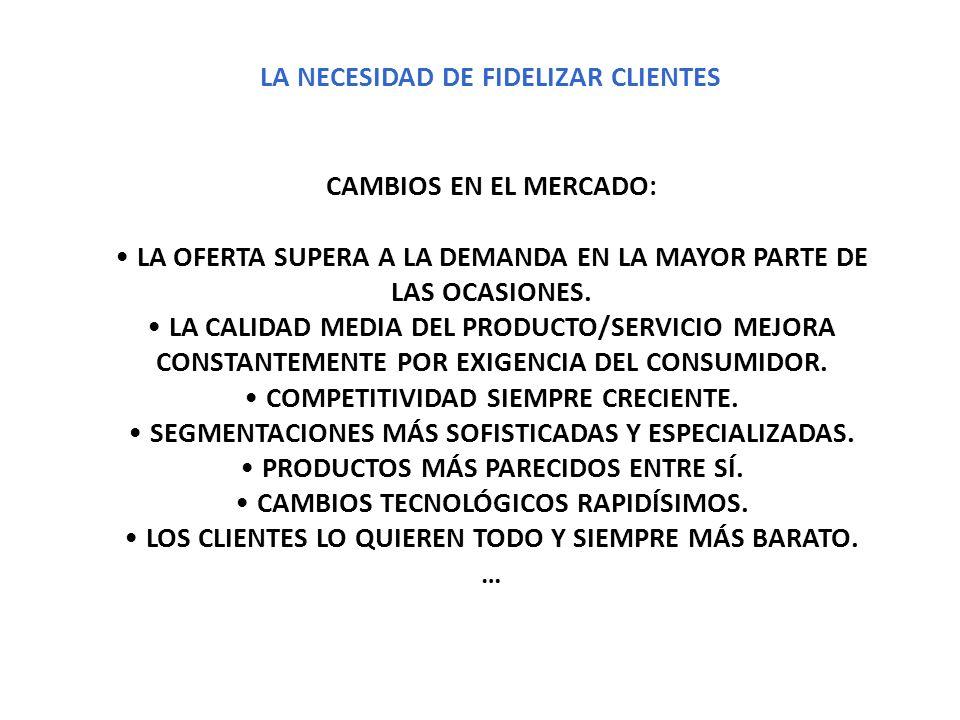 LA NECESIDAD DE FIDELIZAR CLIENTES CAMBIOS EN EL MERCADO: LA OFERTA SUPERA A LA DEMANDA EN LA MAYOR PARTE DE LAS OCASIONES. LA CALIDAD MEDIA DEL PRODU