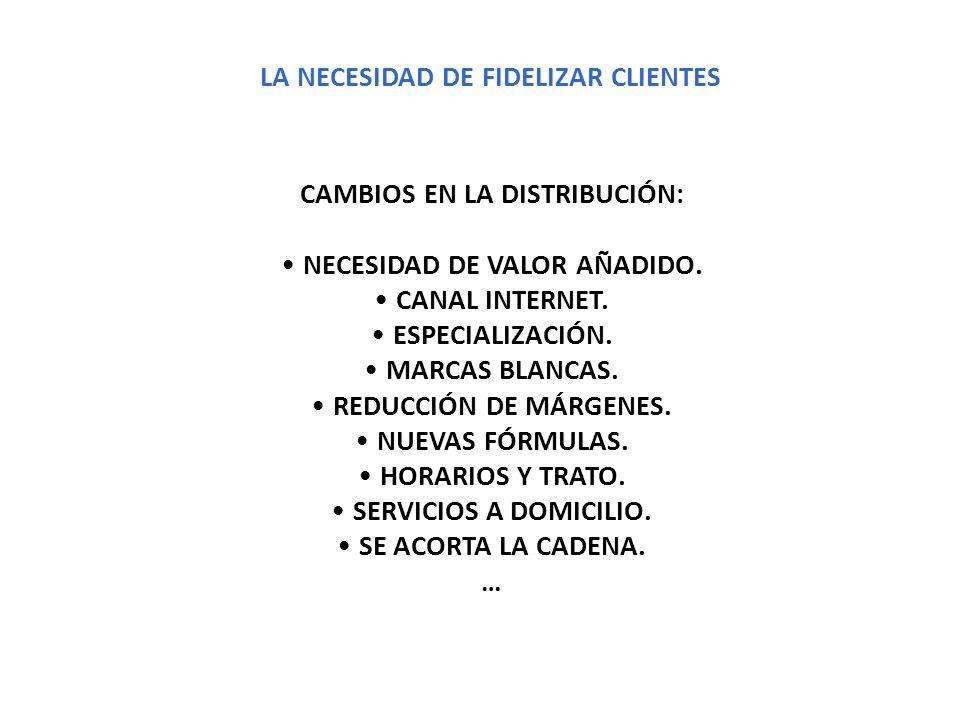 LA NECESIDAD DE FIDELIZAR CLIENTES CAMBIOS EN LA DISTRIBUCIÓN: NECESIDAD DE VALOR AÑADIDO. CANAL INTERNET. ESPECIALIZACIÓN. MARCAS BLANCAS. REDUCCIÓN
