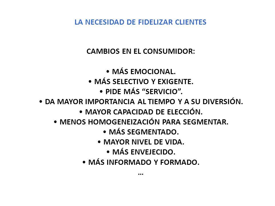 LA NECESIDAD DE FIDELIZAR CLIENTES CAMBIOS EN EL CONSUMIDOR: MÁS EMOCIONAL. MÁS SELECTIVO Y EXIGENTE. PIDE MÁS SERVICIO. DA MAYOR IMPORTANCIA AL TIEMP