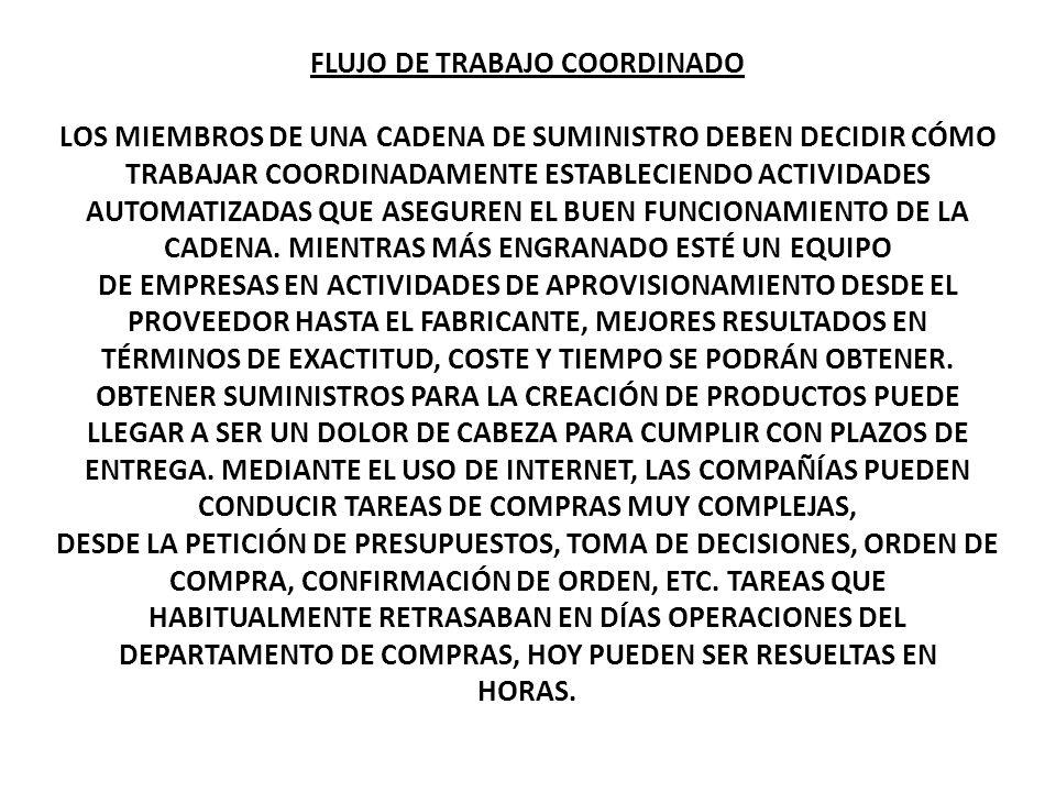 FLUJO DE TRABAJO COORDINADO LOS MIEMBROS DE UNA CADENA DE SUMINISTRO DEBEN DECIDIR CÓMO TRABAJAR COORDINADAMENTE ESTABLECIENDO ACTIVIDADES AUTOMATIZAD